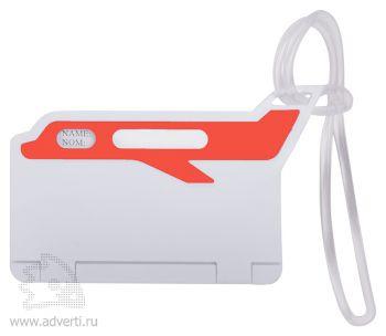 Бирка багажная «Самолет», красная