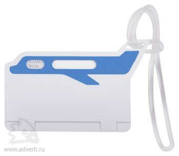 Бирка багажная «Самолет», синяя