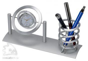 Подставка для канцелярских принадлежностей с часами «Орбита»