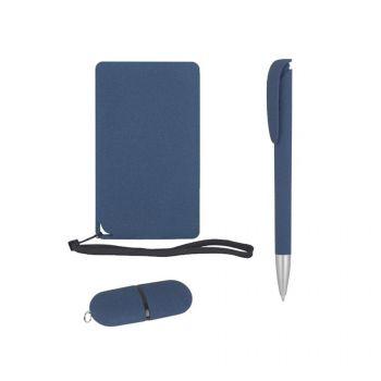 Подарочный набор «Камень», покрытие soft grip,на 3 предмета, в черном футляре, синий, наполнение