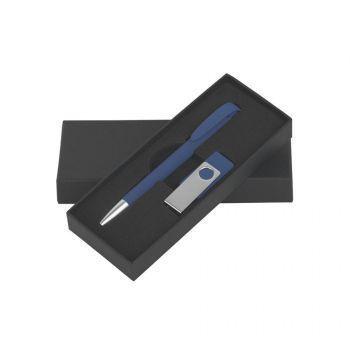Набор ручка «JONA Softgrip M» + флеш-карта «TWISTA Softgrip MS» 8/16 Гб в футляре, синий