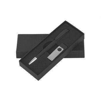 Набор ручка «JONA Softgrip M» + флеш-карта «TWISTA Softgrip MS» 8/16 Гб в футляре, черный