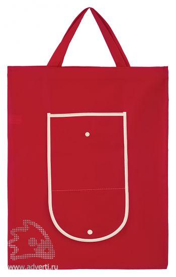 Сумка для покупок складная с застежкой, красная, раскрытая