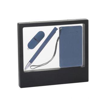 Подарочный набор «Камень», покрытие soft grip,на 3 предмета, в черном футляре, синий