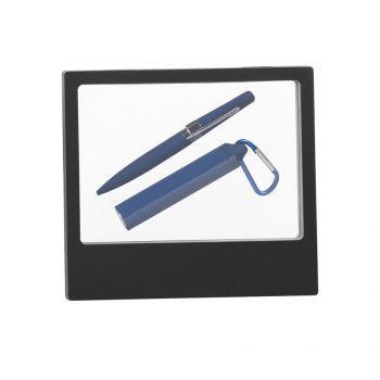 Набор ручка «Pluton» + зарядник «Minty» 2800 mAh в черном футляре, синий