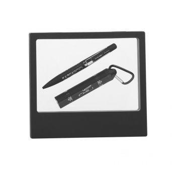 Набор ручка «Pluton» + зарядник «Minty» 2800 mAh в черном футляре, черный