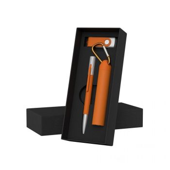 Набор ручка «Clas»+ флеш-карта «Vostok» 8/16 Гб + зарядное устройство «Minty» 2800 mAh в футляре, оранжевый