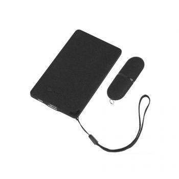 Подарочный набор «Камень», покрытие soft grip, в черном футляре, черный, наполнение