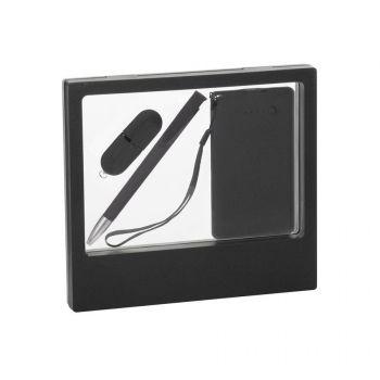 Подарочный набор «Камень», покрытие soft grip,на 3 предмета, в черном футляре, черный