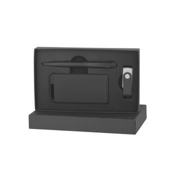 Набор ручка + флеш-карта 8/16 Гб + зарядное устройство 4000 mAh в футляре, черный