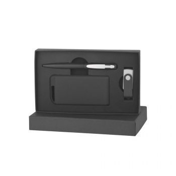 Набор ручка + флеш-карта 8/16 Гб + зарядное устройство 4000 mAh в футляре, серебристый