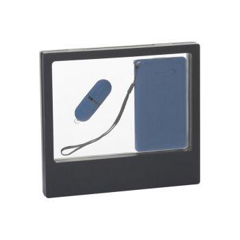 Подарочный набор «Камень», покрытие soft grip, в черном футляре, синий