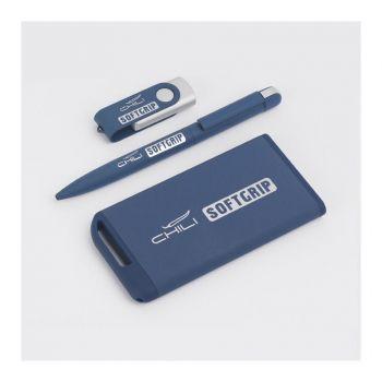 Зарядное устройство «Theta SOFTGRIP» с фонариком, 4000 mAh, синее, пример нанесения