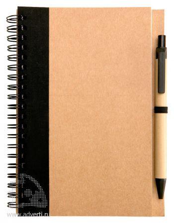 Блокнот с ручкой «Econot», черный