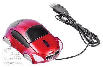 Оптическая компьютерная мышь «Автомобиль», красная