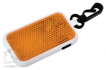 Светоотражатель на карабине с фонариком, оранжевый