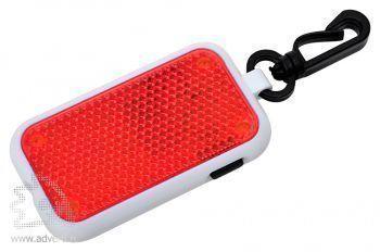 Светоотражатель на карабине с фонариком, красный