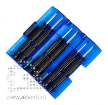Набор отверток в треугольном футляре, синий, в открытом виде