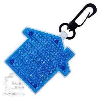 Светоотражатель с фонариком на карабине «Дом», синий