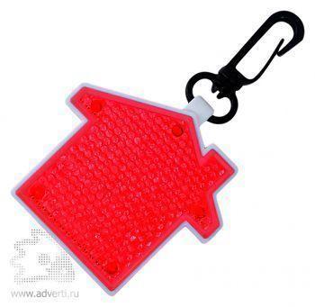 Светоотражатель с фонариком на карабине «Дом», красный