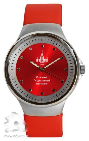 Часы наручные «Gaudy», мужские, серебряный корпус с красным ремнем и циферблатом