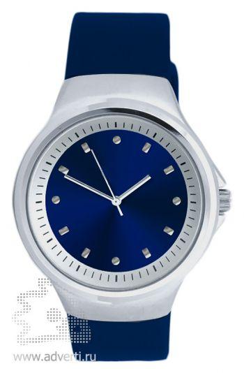 Часы наручные «Gaudy», мужские, серебряный корпус с синим ремнем и циферблатом