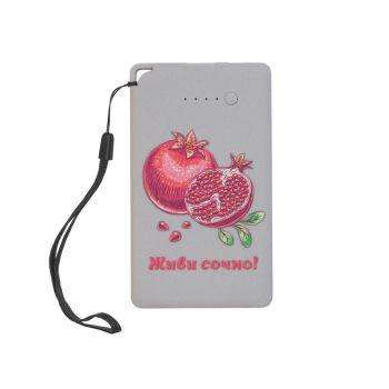Зарядное устройство «Камень», с покрытием soft grip, в подарочной коробке, 4000 mAh, серый, пример нанесения