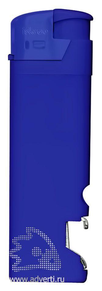 Зажигалка пьезо «Iskra» с открывалкой, синяя