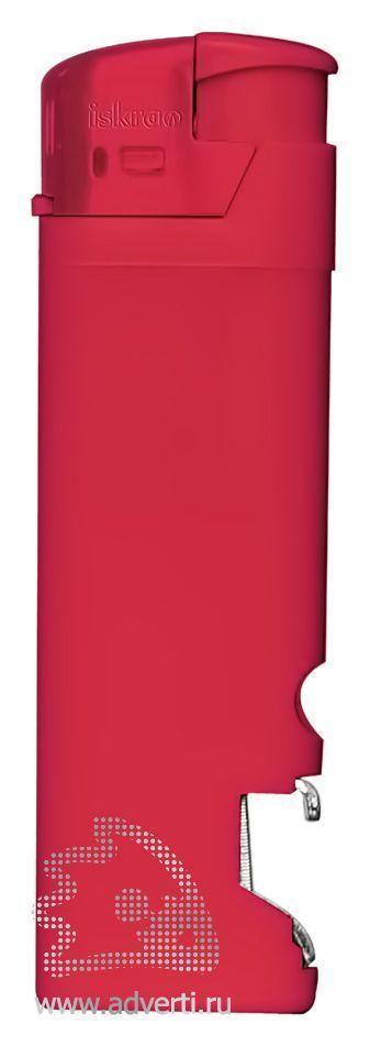 Зажигалка пьезо «Iskra» с открывалкой, красная