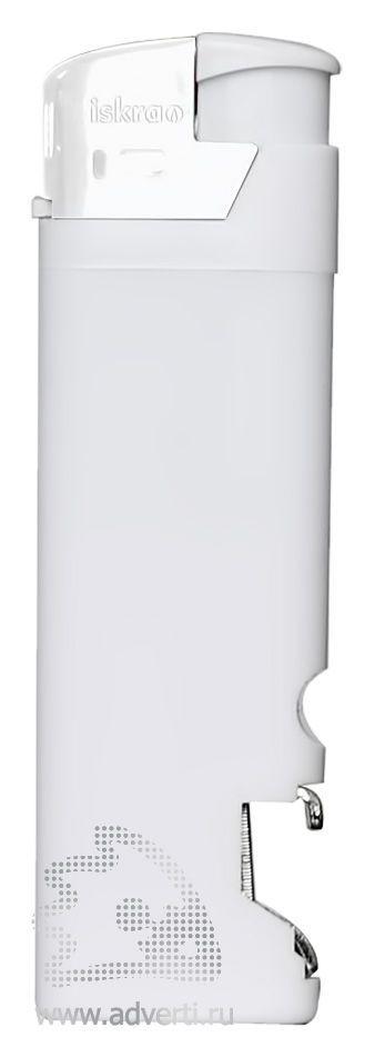 Зажигалка пьезо «Iskra» с открывалкой, белая