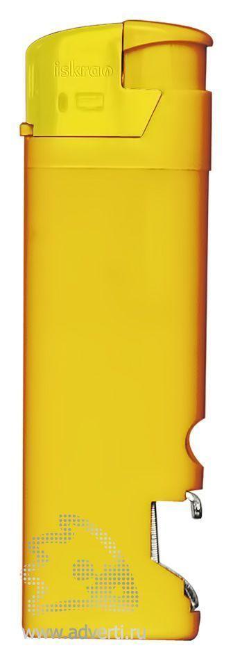 Зажигалка пьезо «Iskra» с открывалкой, желтая