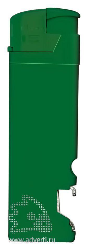 Зажигалка пьезо «Iskra» с открывалкой, зеленая