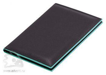 Обложка для паспорта «Everest», черная с бирюзовым