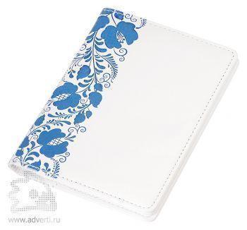 Обложка для документов «Russia», белая с синим