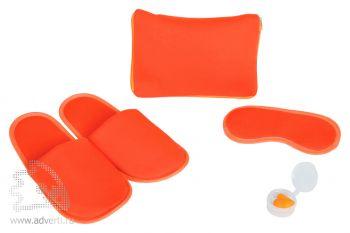 Набор дорожный «Релакс»: маска, беруши, тапки в чехле на молнии, оранжевый