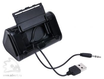 Портативная аудиосистема для смартфона с подставкой, отдел для хранения проводов