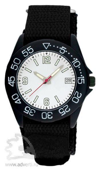 Часы наручные «Sport», мужские, черный корпус и ремнь, с белым циферблатом
