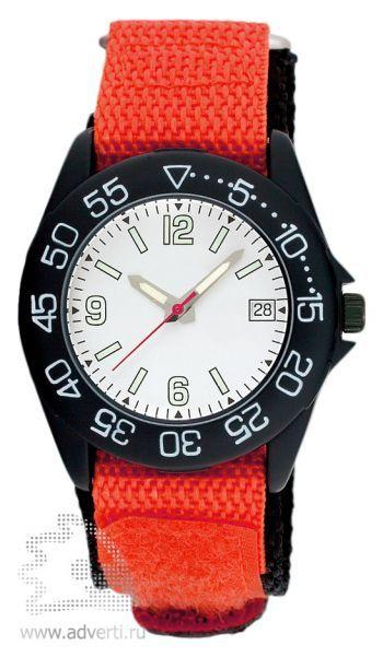 Часы наручные «Sport», мужские, черный корпус с красным ремнем и белым циферблатом