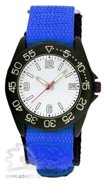 Часы наручные «Sport», мужские, черный корпус с синим ремнем и белым циферблатом
