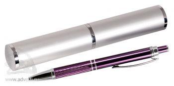 Набор «Crocus», фиолетово-серебристый: шариковая ручка в тубусе