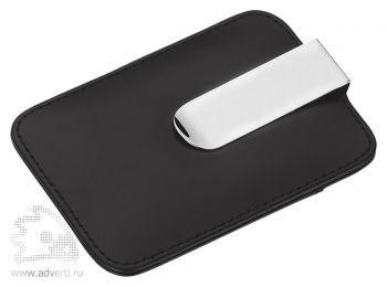 Футляр для пластиковой карты с зажимом для купюр, черный