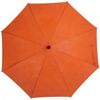 Зонт-трость «Magic», с проявляющимся цветочным рисунком, оранжевый, купол, мокрый