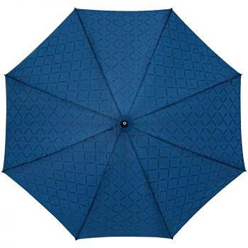 Зонт-трость «Magic», с проявляющимся рисунком в клетку, темно-синий, купол мокрый