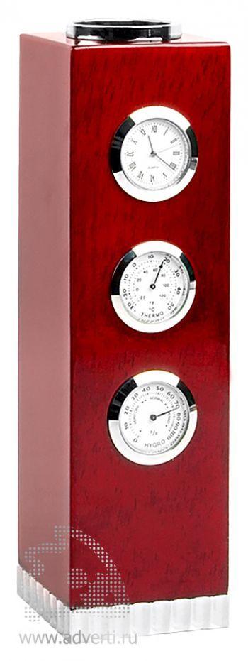 Погодная станция «Роза ветров»: часы, термометр, гигрометр и ваза
