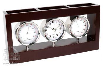 Погодная станция «Трилогия»: часы, термометр, гигрометр с отделениями для канцелярских принадлежностей