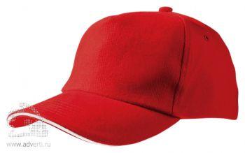 Бейсболка «Unit Classic», красная с белым