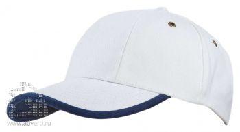 Бейсболка «Unit Trendy», белая с темно-синим