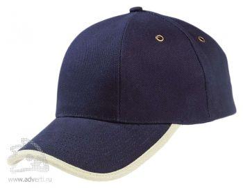 Бейсболка «Unit Trendy», темно-синяя с бежевым