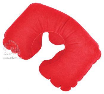 Подушка надувная дорожная в футляре, красная