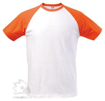Футболка двухцветная «Funky 150», мужская, белая с оранжевым